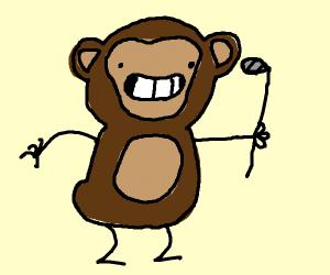 monkey steals golf club
