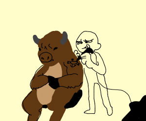 A bison getting a tat