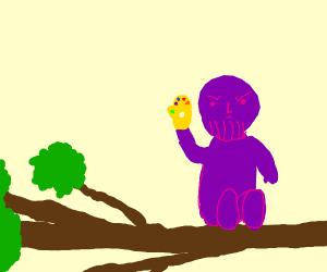 Purple cyborg w/ infinity gauntlet in a tree