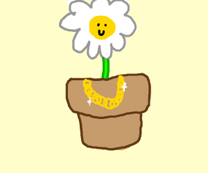 Potted plant with swag neclaces