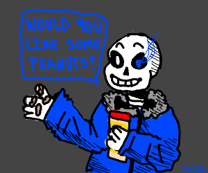 Sans with peanuts