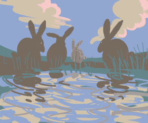 4 Bunnies by water