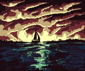 Ocean horizon with boat silhouette