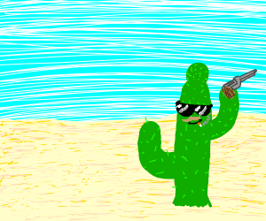 Bad cactus in a desert