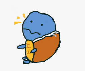 Squirtle falls on his back and caaan't get up