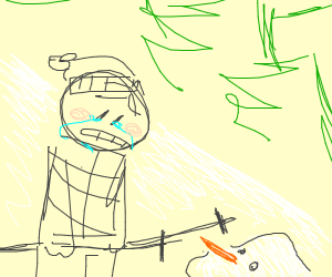 skiier laments the loss of his snowman friend