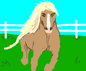Earless horse with luscious mane
