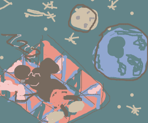 Mickey Mouse sleeping on a quilt in space
