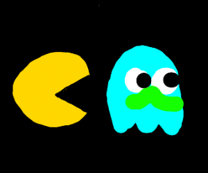 pacman chasing blue ghost w/ green mustache