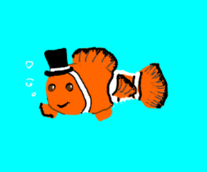orange fish wearing a top hat smiles at you