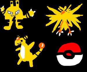 3 Yellow Electric Type Pokemon (Guess them)
