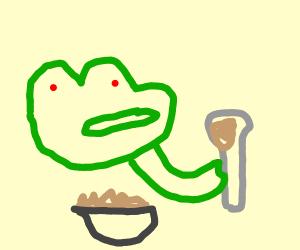 pepe eating porridge