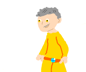 man with gold outfit