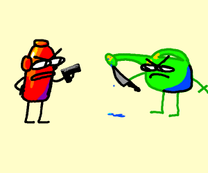 watering can and fire hydrant fighting