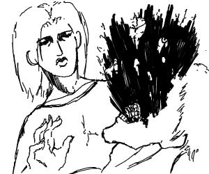 Woman defeating man