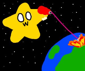 OwO Star shoots a gun at Earth