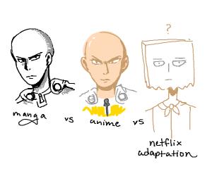 comic vs anime vs netflix adaptation (OPM)