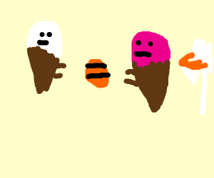 Icecreams passing a basketball