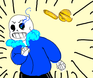 Sans is scared of dab emoji
