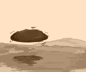 A boulder levitates