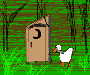 Goose taking newspaper to outhouse