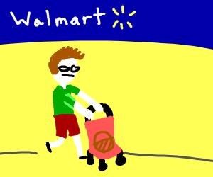 guy strolling a basket at walmart