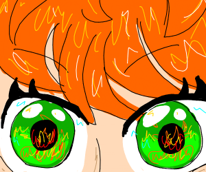 Very detailed green eye in fire