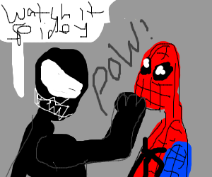 venom punching spidey and says a warning