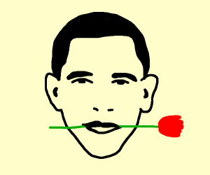 Obama holding a rose with his mouth