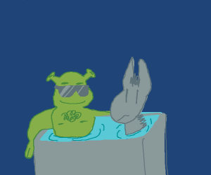 shrek and donkey take a relaxing bath