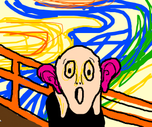 Man with giant pink ears screams