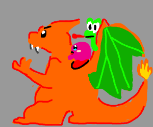 yoshi and kirby flying on a charizard