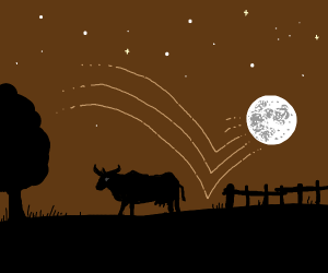 Moon jumps over cow