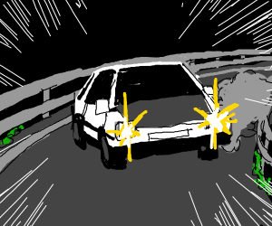 car driving in city at night with headlights