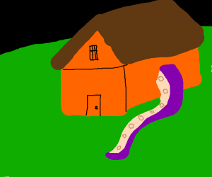 a house with a tentacle