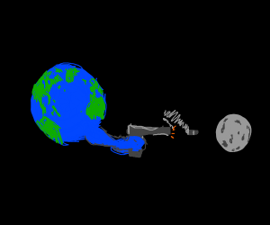 Angry Earth shooting the moon with a gun