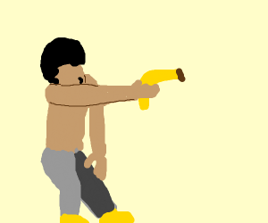 this is america but the gun is a banana