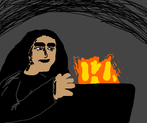 witch making fire