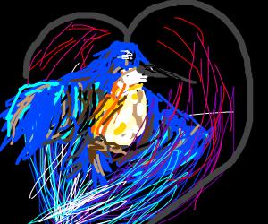 blue bird in a fire
