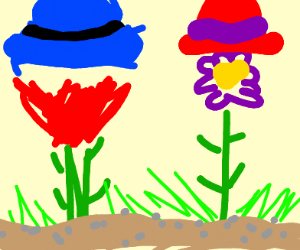flowers with hats