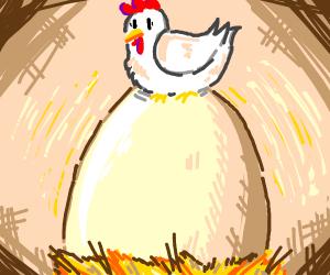 Little bird lays a really big egg
