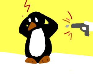 stressed out penguin gets shot in the head