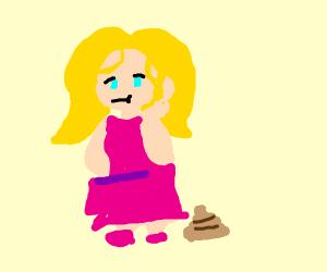 Girl turd in a pink dress