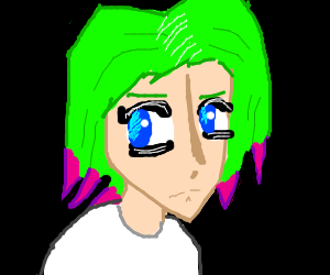 Green haired anime girl with pink tips