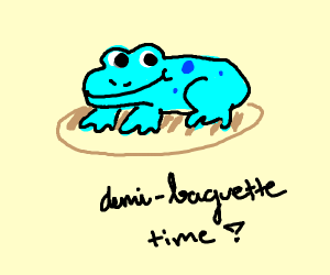 blue frog on demi-baguette