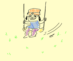 PaRappa the rapper on a swing