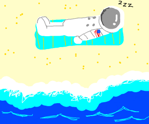 Astronaut sleeps on the beach