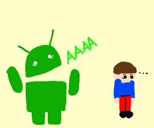 Scared Android yells at man/woman