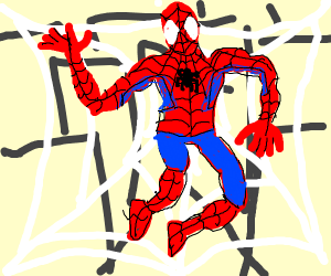 Spider-Man caught in his own web