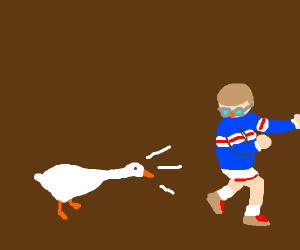 Goose chases the Kid (Untitled Goose Game)